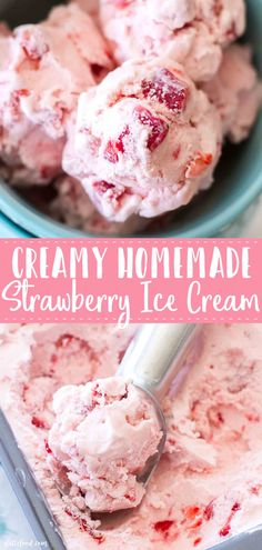 This homemade strawberry ice cream recipe is the perfect summer dessert. This strawberry ice cream with fresh strawberries is creamy, dreamy and absolutely amazing. It's an easy strawberry ice cream recipe made in an ice cream maker. Frozen Strawberry Desserts, Homemade Strawberry Ice Cream, Fresh Strawberry Recipes, Easy Homemade Ice Cream, Fruit Ice Cream, Ice Cream Desserts, Frozen Desserts, Recipes With Fresh Strawberries, Easy Ice Cream Recipe