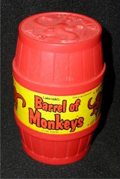 barrel of monkeys by Lakeside, 1970  We used to take this camping with us. It would keep us busy when it rained and we couldn't go to the beach.  Can't imagine my  kids relying on this game today to keep busy.