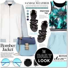 How To Wear Summer style - Bomber jacket.shorts.sandals.printed top Outfit Idea 2017 - Fashion Trends Ready To Wear For Plus Size, Curvy Women Over 20, 30, 40, 50