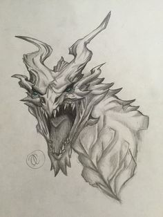 Alduin from Skyrim! ( By: ) done in pencil but a teal Prismacolor for the eyes. Skyrim Drawing, Skyrim Tattoo, Autumn Tattoo, Black Paper Drawing, Dragon Coloring Page, Dragon Sketch, Gaming Tattoo, Dragon Artwork, Skull Wallpaper