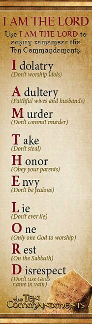 Mandamientos. Reglas. Ley. Orden. Justicia. Paz