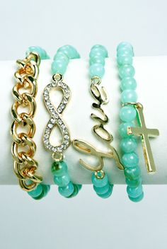 Cute braclet! Get those charming sea blue pearls at your nearest cosmetic stores. #Infinity #love