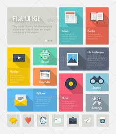 Flat Website User Interface Elements  - Web Technology