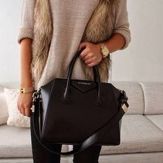 Style my fur vest: Could wear a jumper underneath (never thought of that) would be better because i like the loose look underneath the vest. IN LOVE WITH THAT BAG