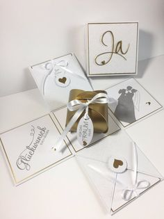 Memories Box, Wedding Invitation Cards, Wedding Cards, Wedding Gifts, Card In A Box, Exploding Boxes, Wedding Boxes, Upcycled Crafts, Stamping Up