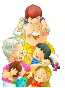 Abuelos Más Happy Grandparents Day, Happy Fathers Day, Old Lady Humor, Family Vector, Grands Parents, Family Illustration, Couple Cartoon, Mothers Day Crafts, Baby Art