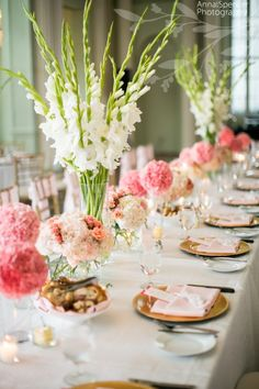 pink + gold wedding @Mandy Dewey Seasons Bridal maybe something like this for reception??
