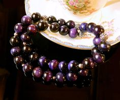 Statement Plum Purple Tiger Eye Necklace Sterling by MsBsDesigns, $198.00