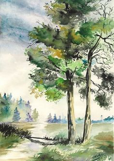 80 Simple Watercolor Painting Ideas Einfache Aquarellmalerei The post 80 einfache Aquarell-Malideen appeared first on Ansichten. Watercolor Landscape Paintings, Watercolor Trees, Nature Paintings, Watercolor And Ink, Landscape Art, Simple Watercolor, Painting Trees, Gouache Painting, Painting Abstract