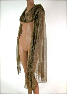 1920's Egyptian Gold Metallic Embroidered Tulle Cape