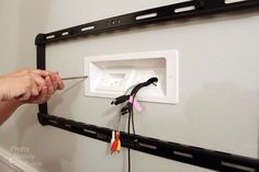 Mounted TV with Hidden Wires Tutorial Installing a Wall Mount Flat Screen TV + Hiding Cords Tv Wall Design, House Design, Deco Tv, Framed Tv, Ideias Diy, Wall Mounted Tv, Hanging Tv On Wall, Living Room Tv, Tv On Wall Ideas Living Room