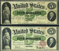 "1862 Greenbacks. Comparison of a 5 Dollar Demand Note (upper image) and an 1862 Greenback issue 5 United States Note (lower image). Note the removal of the words ""On Demand"" and of the phrase ""Receivable in Payment of All Public Dues"". Also note the Treasury Seal added to the United States Note. - Wikipedia"