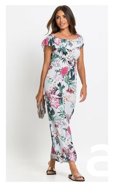 stylizacja casual, ciekawa stylizacja, moda damska, sukienka w kwiaty, sukienka maxi Short Sleeve Dresses, Dresses With Sleeves, Cold Shoulder Dress, Jumpsuit, Casual, Fashion, Overalls, Moda, Sleeve Dresses
