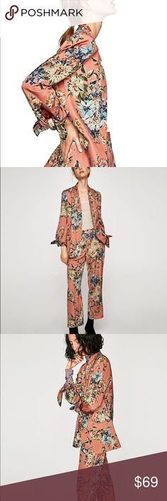 NWT Zara Pink Floral Blazer Jacket Size Small ZARA AW17 2017 FLOWING FLORAL PRINT JACKET BLAZER W/ BOWS REF. 7897/120 Sz: S(Armpit to armpit-18.5, Length-29 inches) Material-100% Polyester, Lining-100% Acetate Color-Salmon Zara Jackets & Coats Blazers Floral Blazer, Zara Jackets, Aw17, Print Jacket, Fashion Design, Fashion Tips, Fashion Trends, Blazer Jacket, Salmon