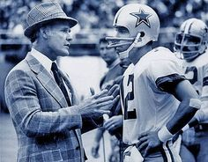 Tom Landry and Roger Staubach (1975)- Staubach. Landry guided the Cowboys to 20 Consecutive winning seasons 66-85.  Both in Hall of Fame.