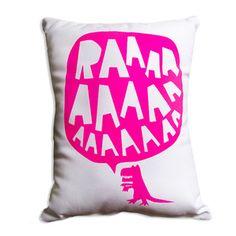 RAAAAA Dinosaur Cushion - Fluorescent Pink