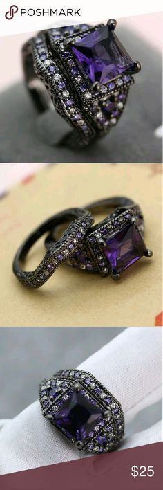 3 HOUR SALE! Black Gold Filled Amethyst Ring Srt I'm currently running an additional sale. See listing at the top of my closet for details and end date.  Reduced from $35 to $18! PRICE FIRM! Will go back to $18 on 11/30!  This stunning ring set is brand new. It's black gold filled with beautiful, lab created amethyst stones and CZs and has 2 bands.  Black gold is very popular right now! Jewelry Rings