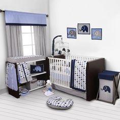 AmazonSmile : Elephants Blue/Grey 10 pc crib set including Bumper Pad : Baby