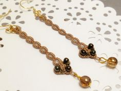 Tatted Lace Earrings Modern jewelry -Strand in light brown with glass beads