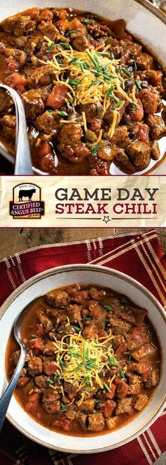 Certified Angus Beef brand Game Day Steak Chili is an EASY chili recipe that uses the best bottom round roast for a full DEEP FLAVOR! Onions garlic and jalapeños put this SLOW COOKER chili ahead of the game! Perfect for a chilly night or a game day feast! Best Beef Recipes, Chilli Recipes, Cooking Recipes, Cooking Chili, Best Steak Chili Recipe, Cooking Games, Slow Cooker Beef Chili, Chili Recipe With Stew Beef, Recipes
