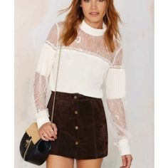 Nasty Gal lace turtle neck top NWT Super cute, lace top Nasty Gal Tops Tees - Long Sleeve