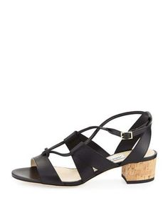 JIMMY CHOO Margo Leather Crisscross 40Mm Sandal. #jimmychoo #shoes #sandals
