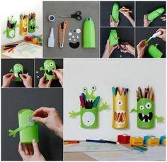 Verwandle eine alte Shampooflasche in ein bezauberndes Stifte haltendes Monster.