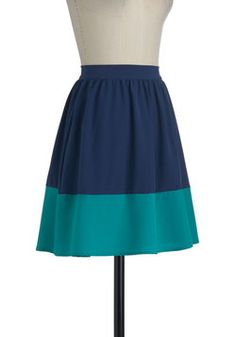 Sway and Simple Skirt in Ocean, ModCloth.com      (Cute colorblock skirt)