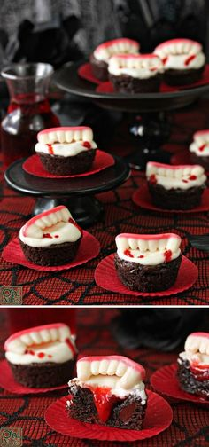 Turn delicious brownies into delicious vampire brownies by adding candy fangs and cherry pie filling...                                                                                                                                                     Más