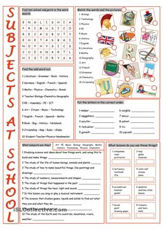 School Subjects Vocabulary Exercises