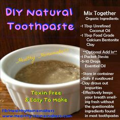Natural toothpaste with clay Homemade Beauty Products, Diy Cleaning Products, Cleaning Supplies, Calcium Bentonite Clay, Unrefined Coconut Oil, Natural Toothpaste, Foods With Calcium, Food Grade, Stevia