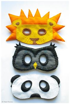 Of Rockstars, Superheroes & Those In Between: Last Minute, Easy DIY Hallowe'en Costumes For Kids -- I especially like the lion mask for my trick or treater. Kids Crafts, Felt Crafts, Craft Projects, Sewing Projects, Arts And Crafts, Paper Crafts, Diy Halloween, Halloween Costumes, Sewing For Kids