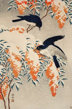 Flycatchers in Snow Ohara Shōson (Koson) (Japan, 1877-1945) Japan, 1929 Prints; woodcuts Color woodblock print Image: 14 5/16 x 9 1/2 in. (36.36 x 24.13 cm); Sheet: 15 5/16 x 10 1/2 in. (38.90 x 26.67 cm) Gift of Chuck Bowdlear, Ph.D., and John Borozan, M.A. (M.2000.105.147) Japanese Art