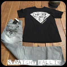 Men's Rock Revival Your looking at a Straight baller outfit for a guy! Only the Rock Revival are for sale in this listing! Brand new with tags Grey Rock Revival size 33 also a 36 is available! Looking to sell but would sell for Diamond Supply, Obey or other brands like these! Happy Poshing Rock Revival Jeans