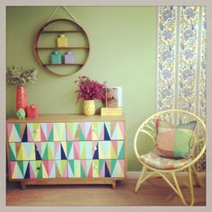The Luck of The Drawer - recycled timber set of drawers with hand painted triangles.  Our round chair in Daffodil.  https://thefamilylovetree.com.au/_recycled-timber-drawers