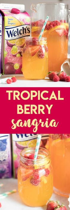 Refreshing and so simple to toss together. Bring the tro… Tropical Berry Sangria. Refreshing and so simple to toss together. Bring the tropics to your home with Welch's Passion Fruit Juice Cocktail and let the party begin. Fun Cocktails, Party Drinks, Summer Drinks, Fun Drinks, Cocktail Recipes, Beverages, Healthy Smoothies, Smoothie Recipes, Juice Recipes