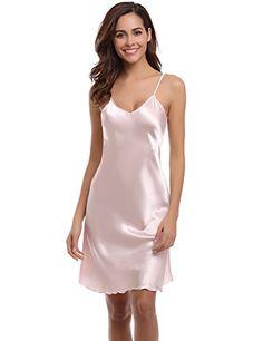 0c168752a9cba9 Aibrou Damen Sexy Negligee Nachthemd Satin Nachtkleid Nachtwäsche  Unterwäsche Sleepwear Kurz Trägerkleid V Ausschnitt Rosa XL