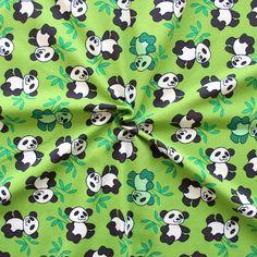 """Baumwoll Stretch Jersey """"Pandas"""" in Lind-Grün aus dem sich zuckersüße Kinderkleidung zaubern lässt. #jersey"""