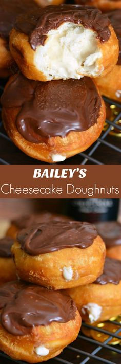 - Bailey's Cheesecake Doughnuts. Easy doughnuts are filled with Bailey's cheesecak… Bailey's Cheesecake Doughnuts. Easy doughnuts are filled with Bailey's cheesecake mixture and topped with Bailey's flavored milk chocolate ganache. Donut Recipes, Baking Recipes, Cookie Recipes, Dessert Recipes, Kitchen Recipes, Appetizer Recipes, Baileys Cheesecake, Cheesecake Recipes, Cheesecake Cookies