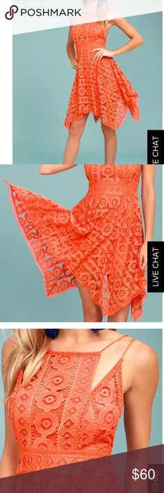 Free people dress The Free People Just Like Honey Coral Orange Lace Dress is as sweet-as-can-be! Romantic lace overlay forms this sleeveless dress with a unique, high neckline, and crochet lace princess seams. Skirt falls to a flirty length with handkerchief hem. Braided double straps and hidden back zipper/clasp. Lined. Self: 72% Nylon, 28% Cotton. Lining: 100% Rayon. Hand Wash Cold. Imported. Free People Dresses Midi