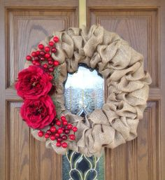 Burlap Christmas Wreath w/ Flowers and Holly Berries