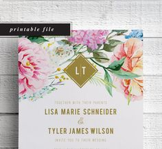 Spring Wedding Invitations Printable Wedding by EdenWeddingStudio
