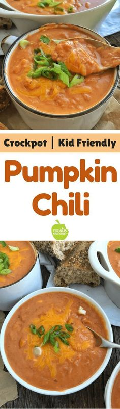 This crockpot soup is the perfect fall recipe idea. Pumpkin blends into this chili recipe seamlessly boosting nutrition, and adding a delicious creaminess to the slow cooker soup. Cream cheese is added at the end of cooking for the perfect finishing touch Healthy Soup Recipes, Chili Recipes, Fall Recipes, Vegetarian Recipes, Dinner Recipes, Vegetarian Chili, Healthy Chili, Budget Recipes, Healthy Kids