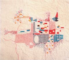 Visible-mending inspiration - Rita Smirna, embroidered map of Buenos Aires Embroidery Map, Abstract Embroidery, Embroidery Patterns, Machine Embroidery, Contemporary Embroidery, Modern Embroidery, Impression Textile, Map Quilt, Textile Artists