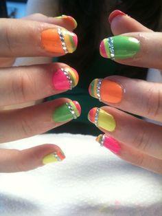 Neon Bidazzled Acrylic Nails (Prom Idea)