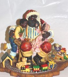 Beautiful Black African American Santa Claus & Children Christmas Figurine