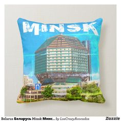 Belarus Беларусь Minsk Минск Library Architecture Throw Pillow