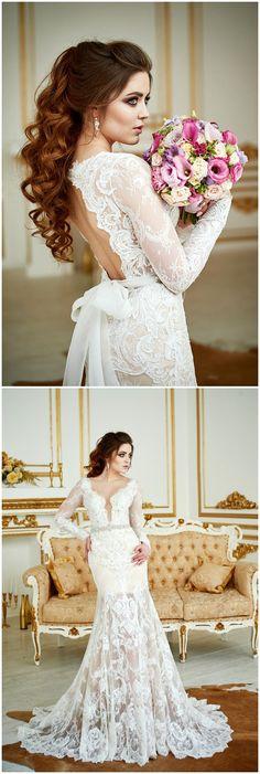 Wedding Dress Renaissance , Lace Wedding Dress, Bohemian Wedding Dress, Long Sleeve Dress, Open Back Gown, Vintage Wedding Dress, 2 in 1 #weddings #weddingideas #dresses