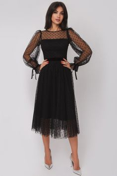 Tulle Dress, Dress Skirt, Lace Dress, Dress Up, Sheer Sleeve Dress, Black Lace Gown, Modest Dresses, Pretty Dresses, Beautiful Dresses