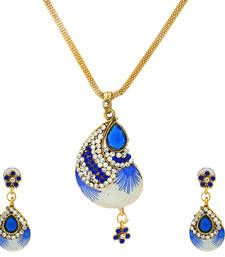 Buy Blue Meenakari Designer Navratri Pendant set party-jewellery online